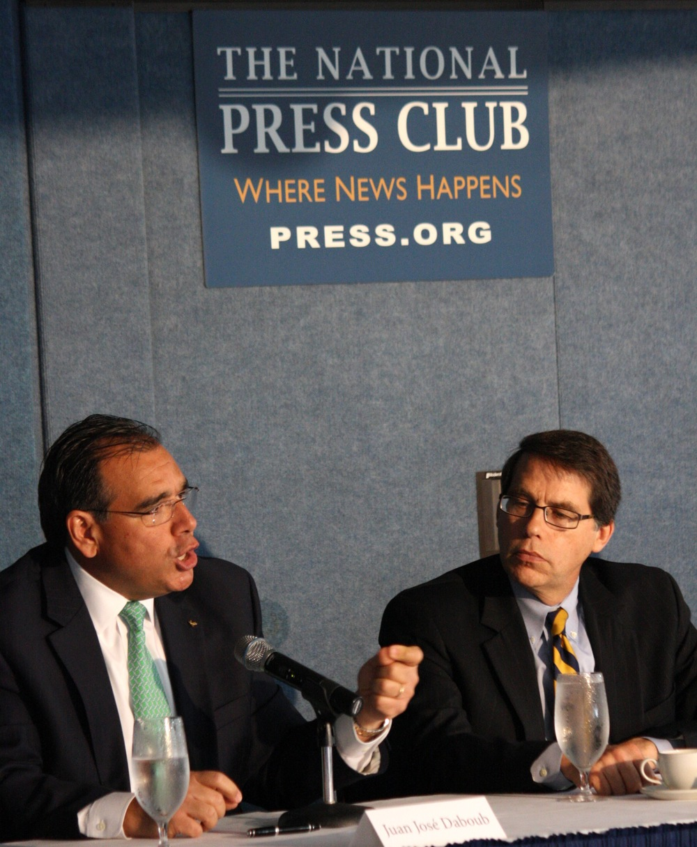 Dr. Juan José Daboub, Founding CEO of the Global Adaptation Institute (GAIN), speaks at the National Press Club during the announcement of the partnership between GAIN and the University of Notre Dame.