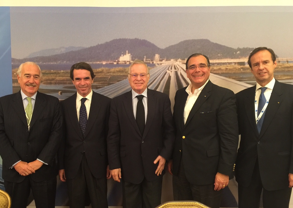From left, former President of Colombia Andres Pastrana, former President of Spain Jose Maria Aznar, former President of Costa Rica Miguel Angel Rodriguez, Dr.Juan Jose Daboub and former President of Bolivia Jorge Fernando Quiroga