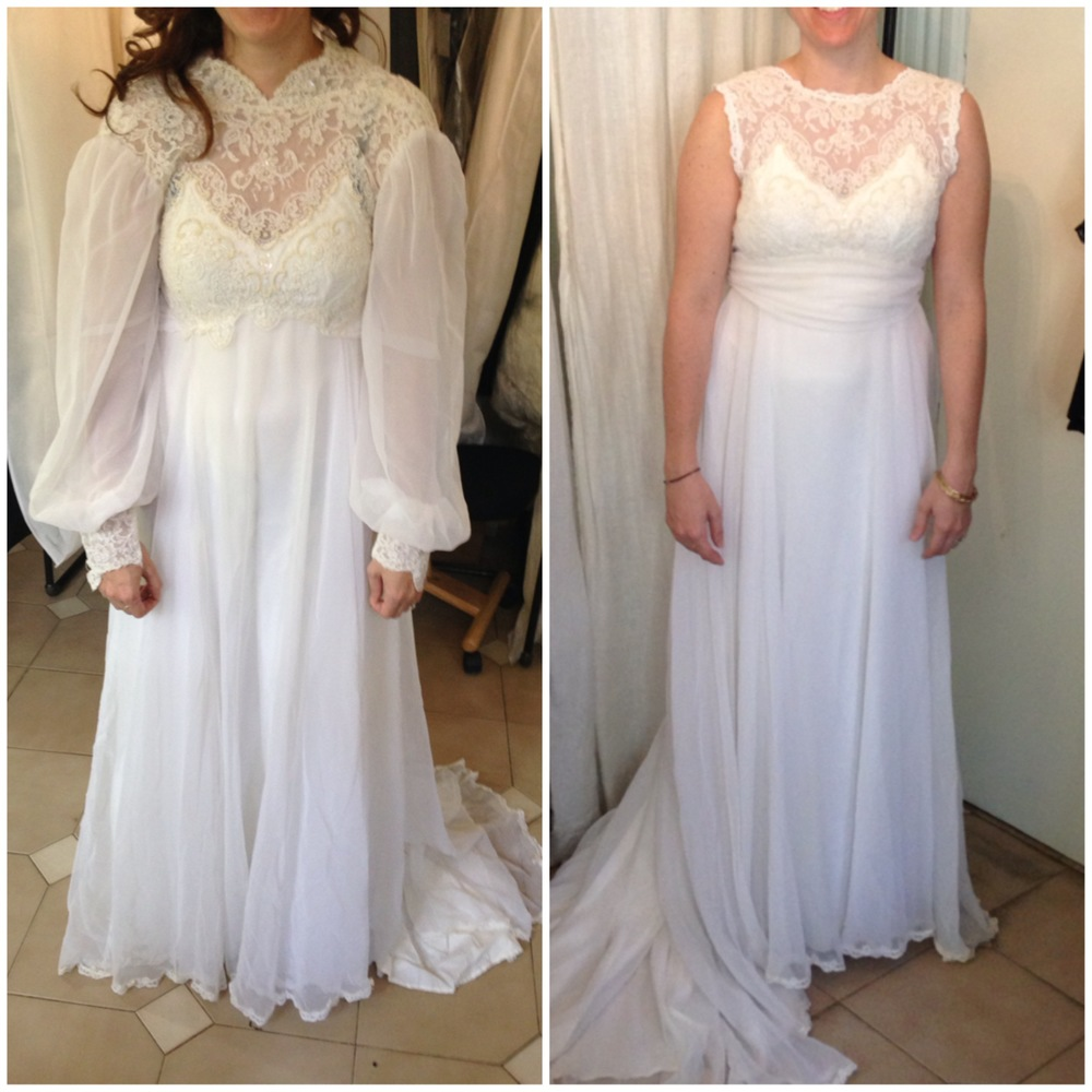 Lengthened wedding dress before and after