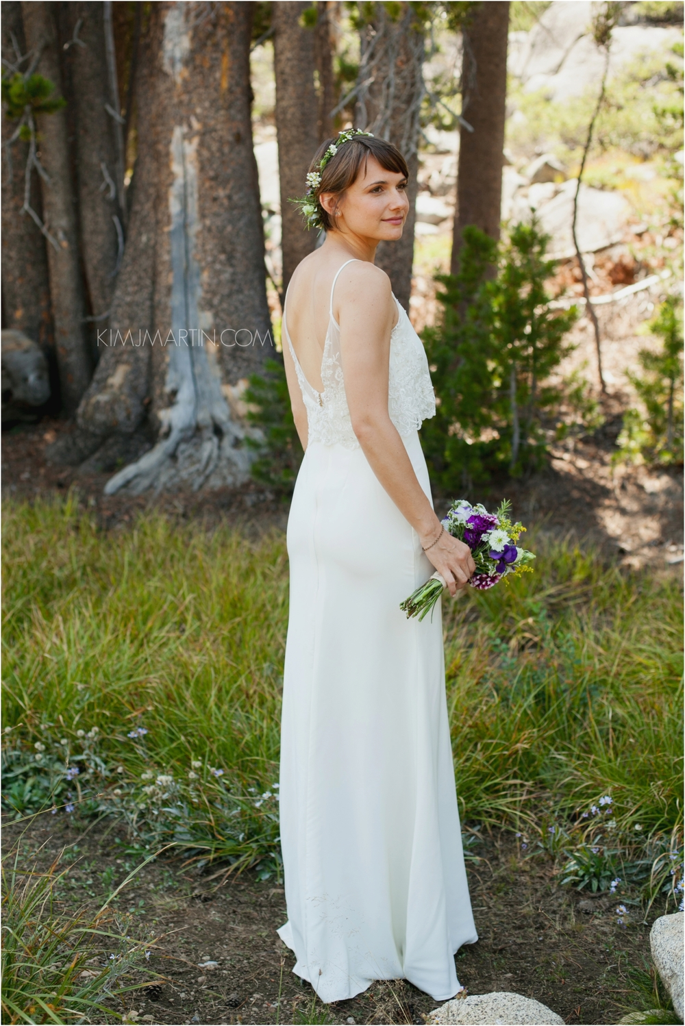 Custom Silk charmeuse dress with beaded lace cropped top overlay for an amazing bride's dreamy wedding in beautiful Tahoe. Photo by Kim J Martin.