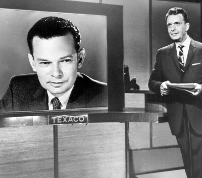 David Brinkley (left) and Chet Huntley who co-anchored the NBC Evening Newscast from  October 29, 1956 until July 31, 1970.