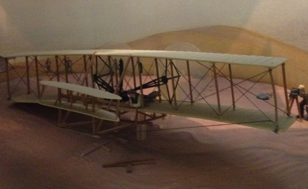 This image shows the Wright Flyer diorama in the Omrod Collection