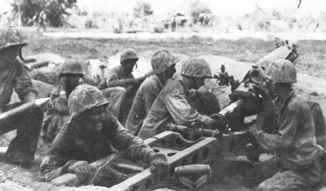 Tenth Marines howitzer section in action during the campaign for Saipan shows how crew drill was used in combat.