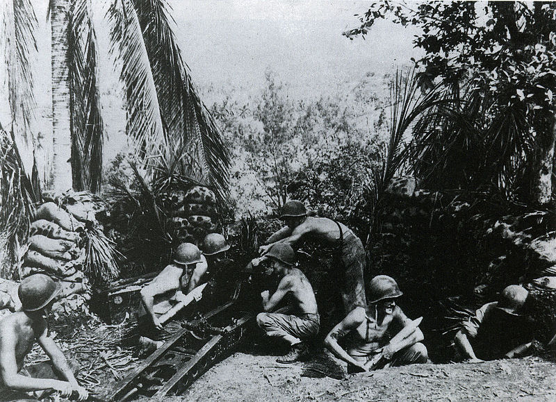 A U.S. 11th Marines 75mm pack howitzer and crew on Guadalcanal, September or October, 1942.