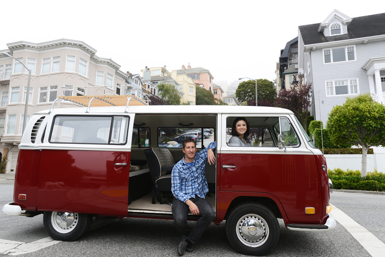 Erik and Amy with the first Vantigo van, Lillie, in 2013