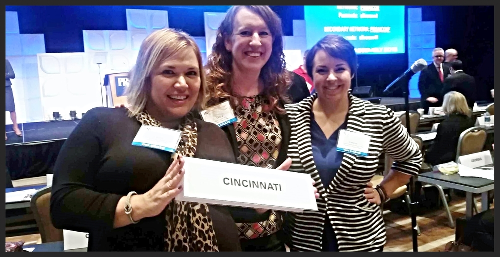 Team Cincinnati: From left, Carrie Phillippi, a past president of Cincinnati PRSA; Shara Clark, current president, and Lauren Doyle, immediate past president.