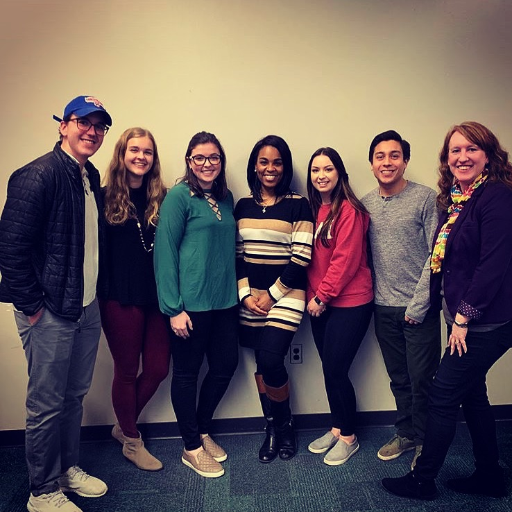 Miami University PRSSA Students with Danielle Lewis and Professor Shara Clark, APR.