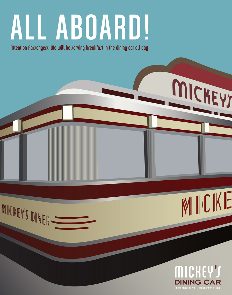 Mickey's is iconic to the people in St. Paul, but over time, the story  of the little restaurant in the train car has faded. This series of ads  revitalizes that story by using type, copy, and imagery from the  passenger rail era and also increases customer recognition by using the  building as the focus for the ads.