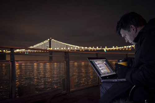 Artist Leo Villareal lights up the Bay Bridge. Photo by Lucas Saugen