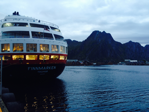Hurtigruten's Finnmarken in port along the coast of Norway.