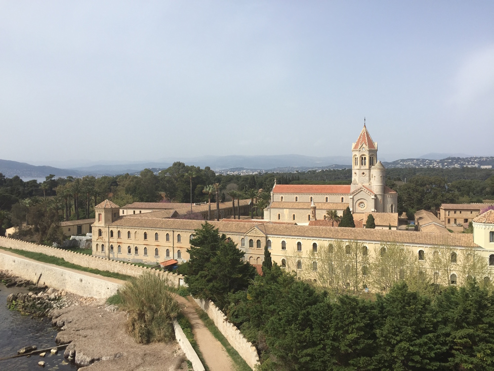 View of the Abbaye de Lérins and the mainland in the distance