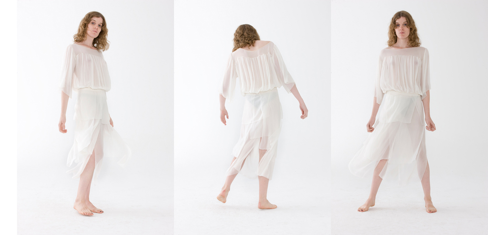 Lightness of being…A Bride   This look is the essence of effortless elegance. Two seperates that move with you. It is perfect for a casual day to a dressed up evening when paired with silk charmeuse arm guards. %100 Silk Chiffon I Made in NYC
