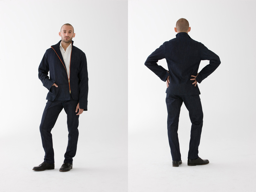 A New Suit   Combining the shorts or pants with this Penvern classic Jacket makes it for a slick look. The new urban comfort, elegance and bien-être. 100% Denim Cotton I Made In NYC