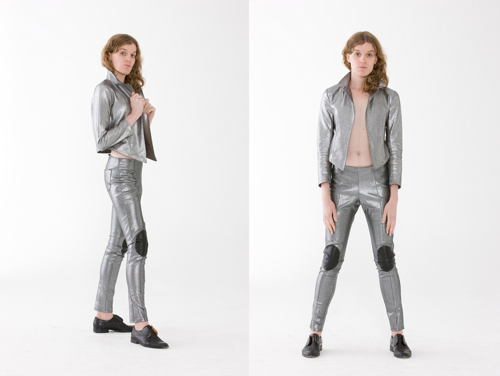 Silver All Over   Those separates make for an elegant and memorable look. the pair of pants is adorned with lamb skin knee patches. 100% Denim Cotton Silver, leather I Made in NYC