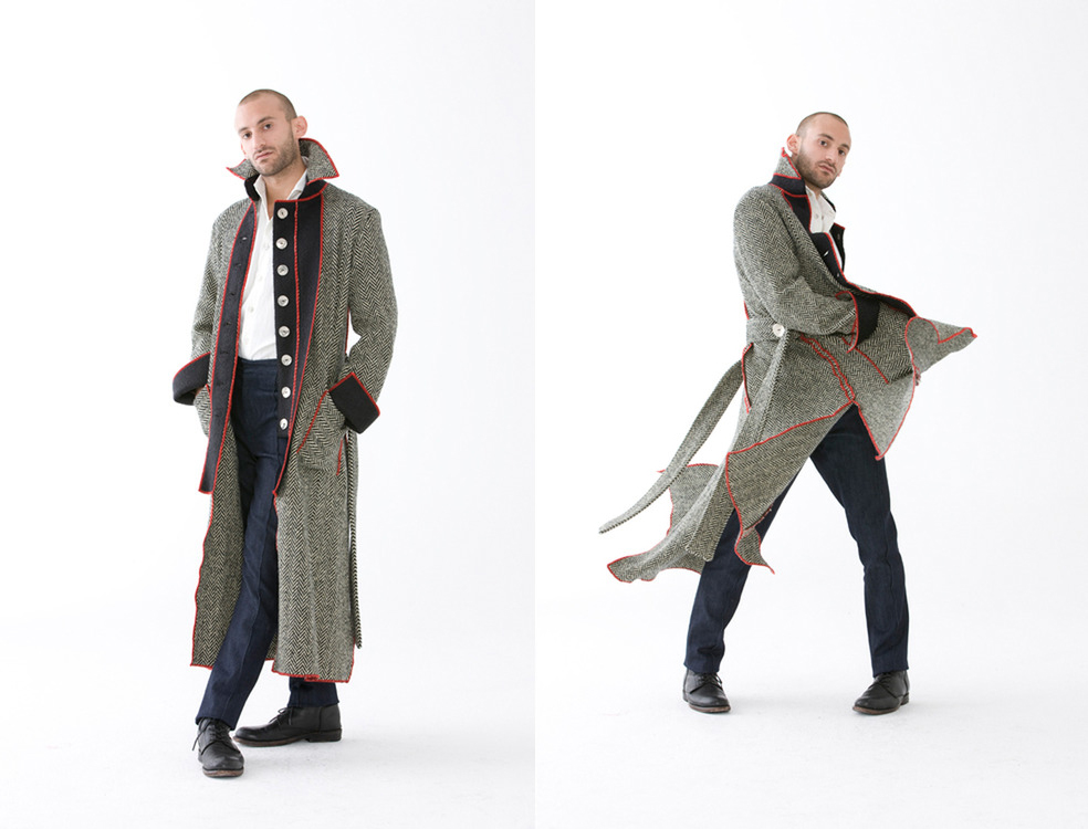 Manteau   Custom made to order, Penvern's signature full-length adult coat is whimsical, intense, and fabricated for you. The four quadrant design compliments the form of your body, so the coat not only goes where you go, it becomes what you become. 100% Wool | Made In NYC