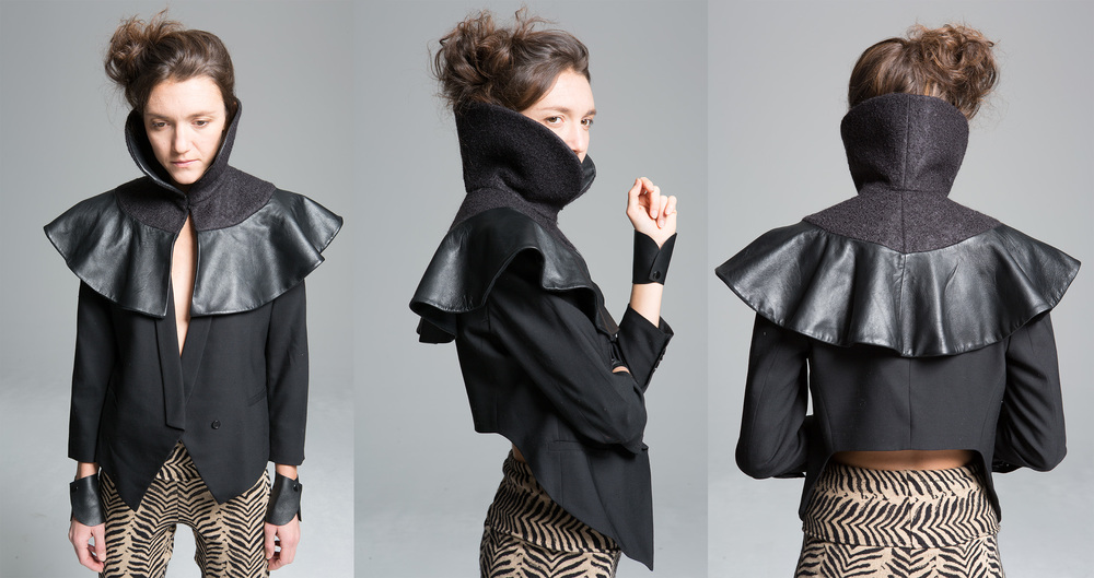 Little Black Cape                                                                                                                                                                                                                  100% Wool and Leather I Made In NYC