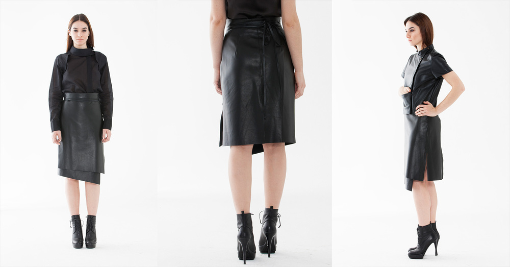 Jupe Portefeuille    Wrapped skirt, high waist, unisex    100% Leather I Made in NYC
