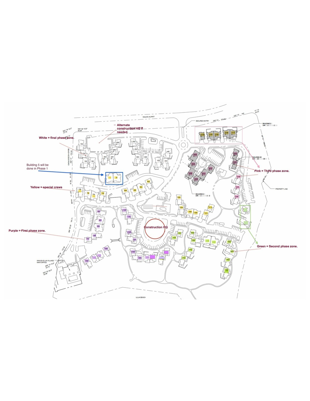Wailea Elua Construction Map 10-01-14