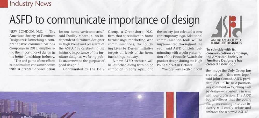 Furniture Today: ASFD To Communicate the Importance of Design