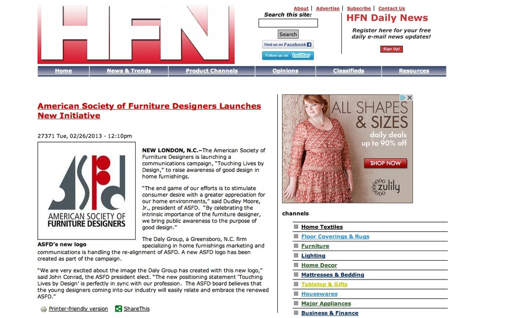 HFN: American Society of Furniture Designers Launches New Initiative