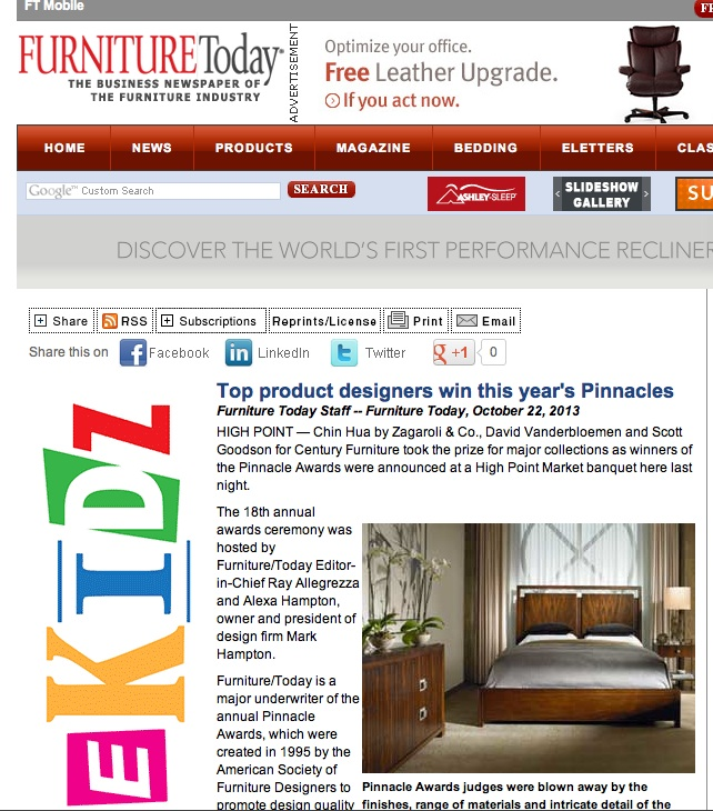Furniture Today Article on 2013 Pinnacle Winners