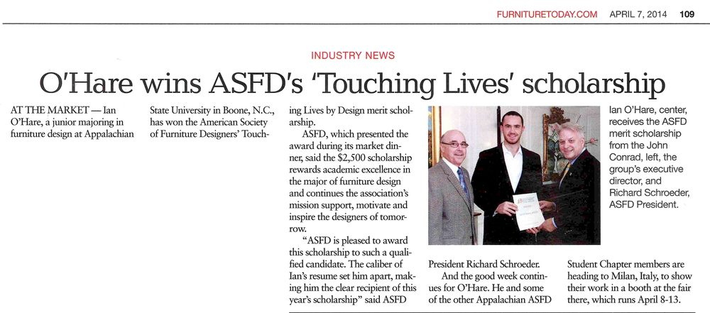 "O'Hare wins ASFD's ""Touching Lives"" scholarship"