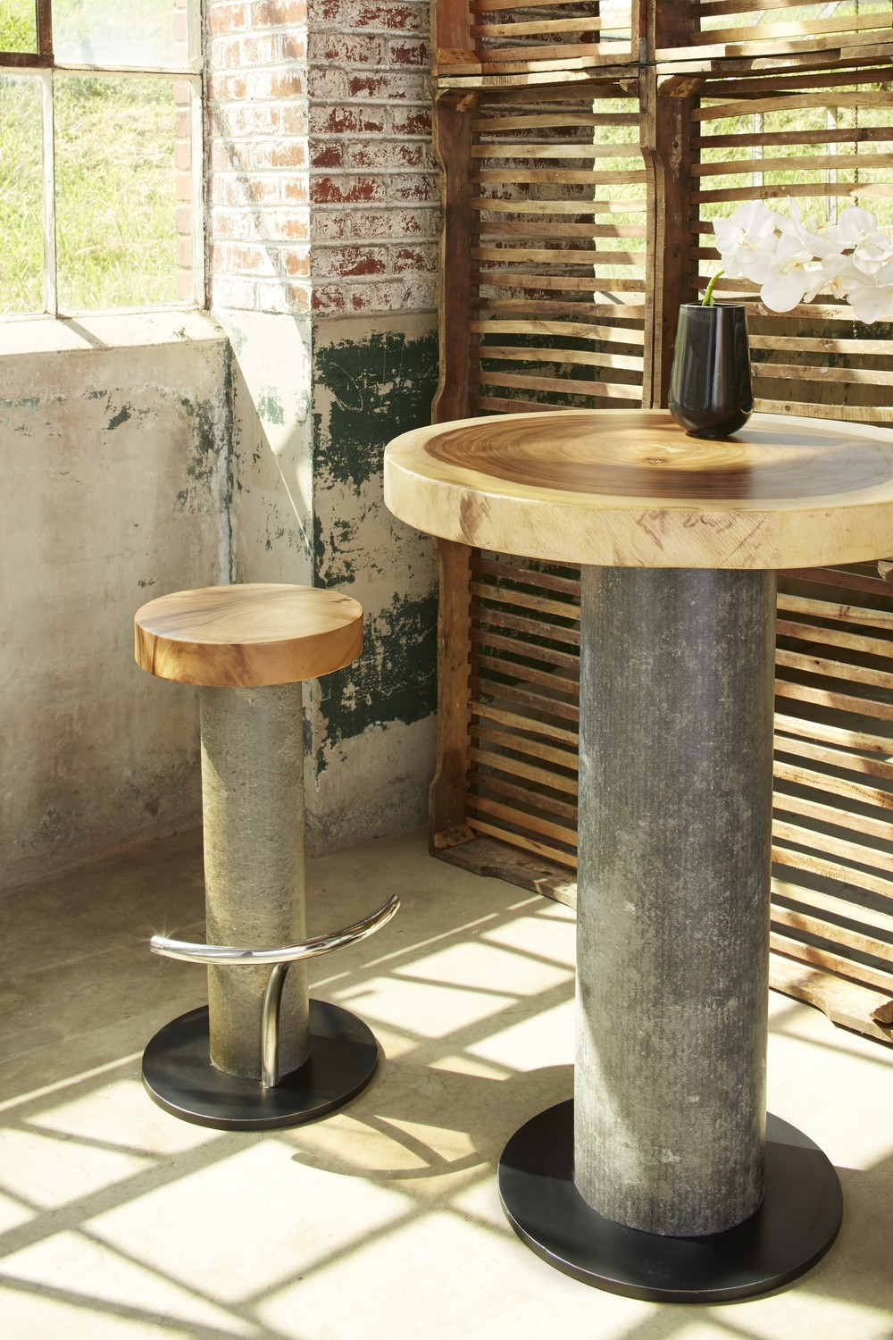 Concrete Bar Table and Stool with Chamch wood top