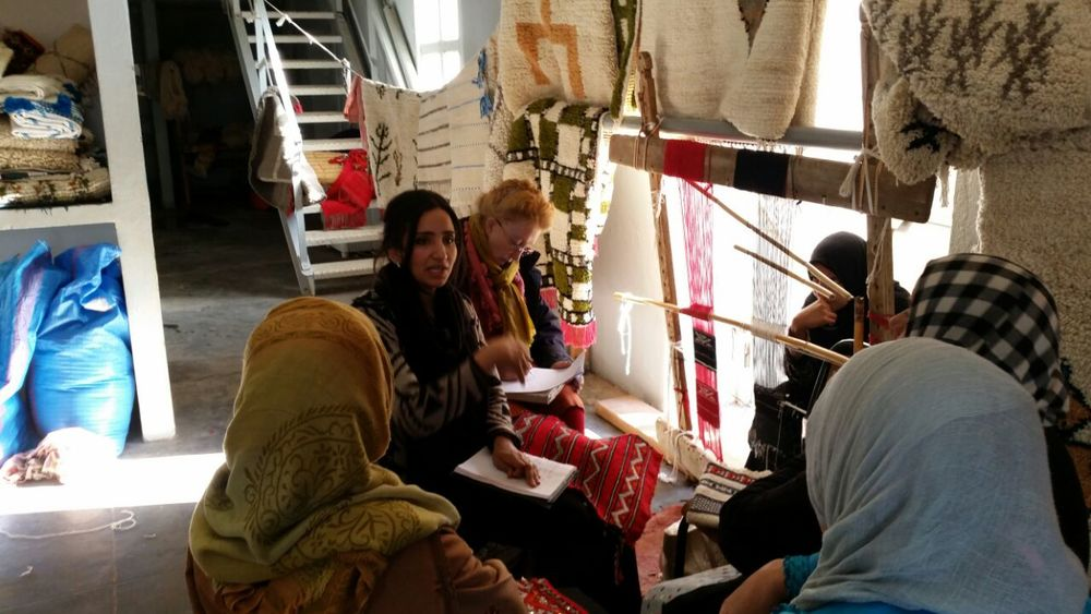 Manal and Lin working with local artisans