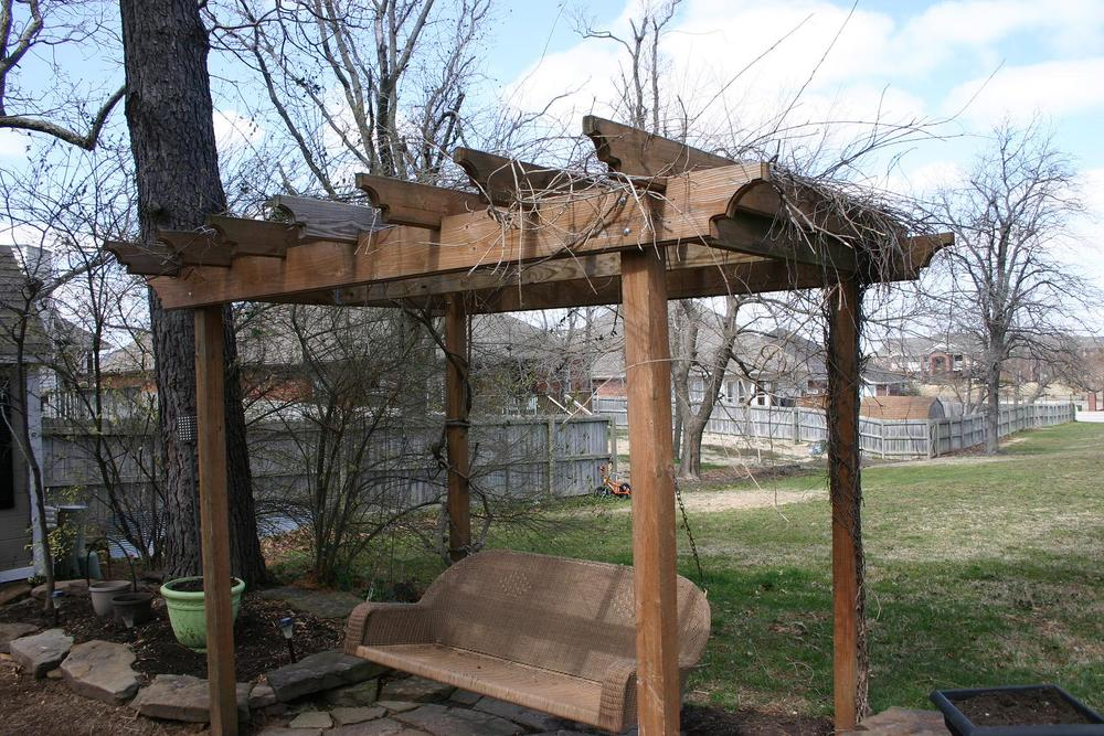 This is the swing today...I had to take pictures now before the wisteria  bloomed...once that stuff takes off in the summer it covers the entire top  and it ... - Swing Pergola Tutorial.... — Beckwith's Treasures