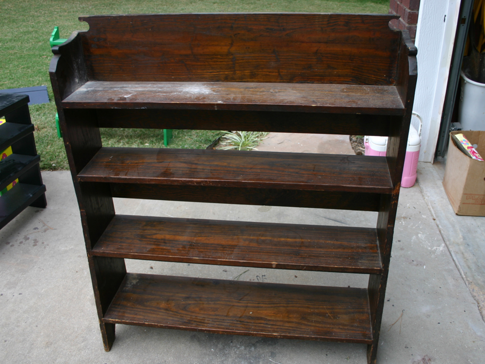 Nasty Old Wood Shelves Chalk Paint Them Or Spray The Natural Shelf Was Painted White And Distressed I Green