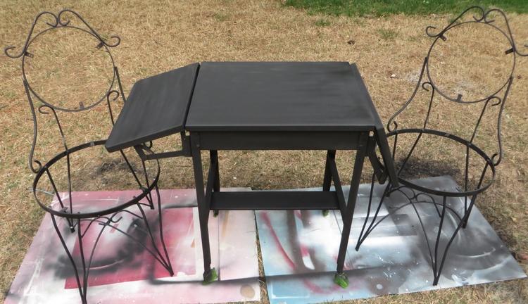 Rust not a problem old metal typewriter table repurposed for Prem table 99 00