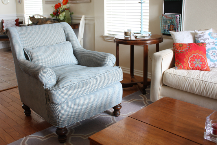 reupholstering the new living room chair — beckwith's treasures