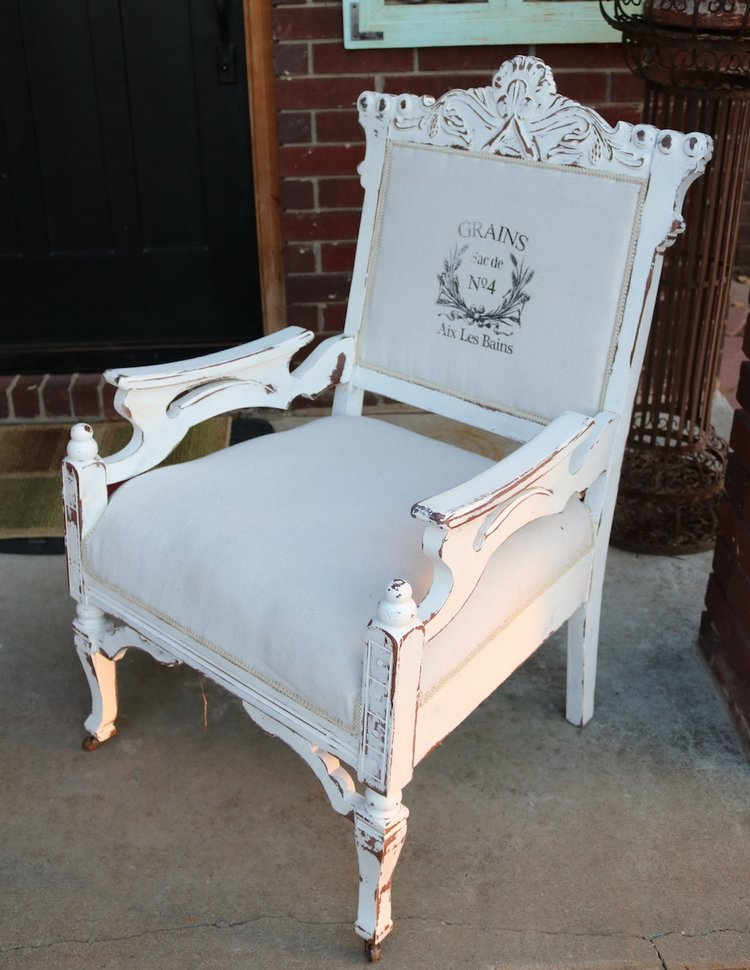 ... Inspiration, living room, paint, refinish, reupholstery Tagged Eastlake  chair, walnut, drop cloth, the graphic's fairy, chalkpaint, antique chair  Source - Eastlake Chair Makeover.... — Beckwith's Treasures