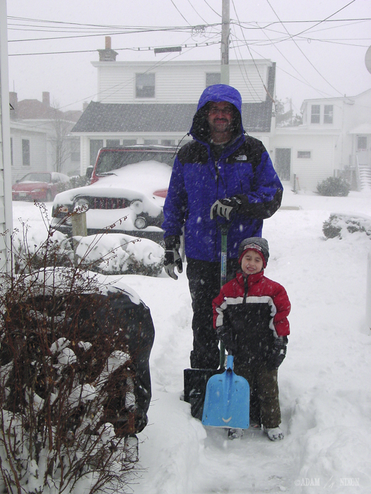 Adam & Alex shoveling snow