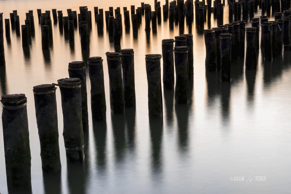 Abandoned dock pylons at Brooklyn Bridge Park