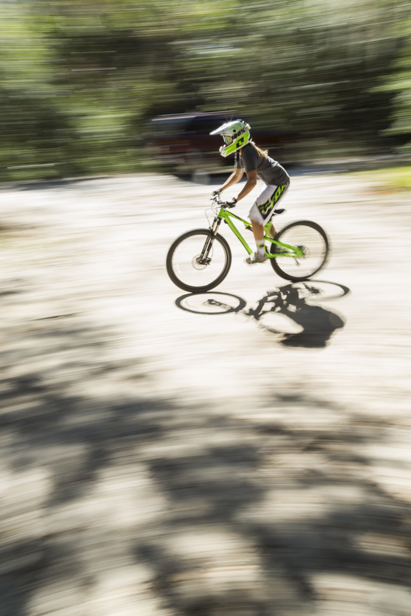 Mountain biker speeding by