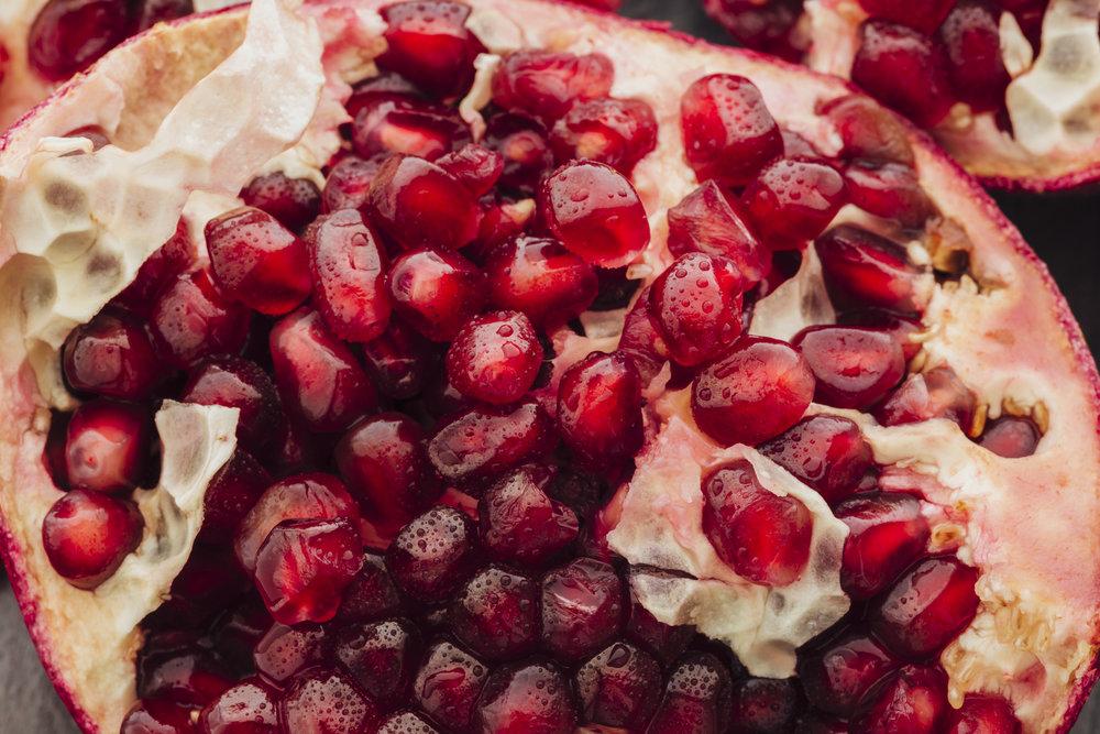 A freshly opened pomegranate fruit