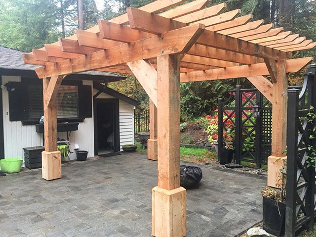 A beautiful back yard pergola installed to be enjoyed over many years. I like to think of all the good memories that will be created under this beauty. #pergola #gardenlove #cedarwood #cedar #westcoast
