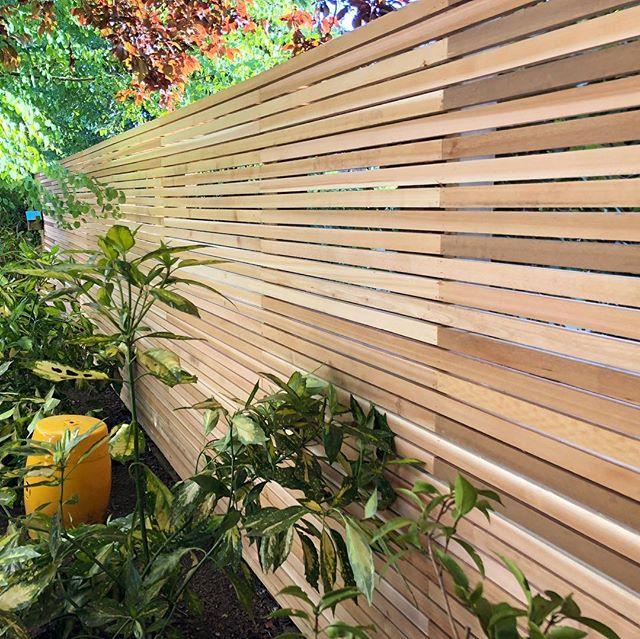Western red cedar slatted screen. #batten #cladding