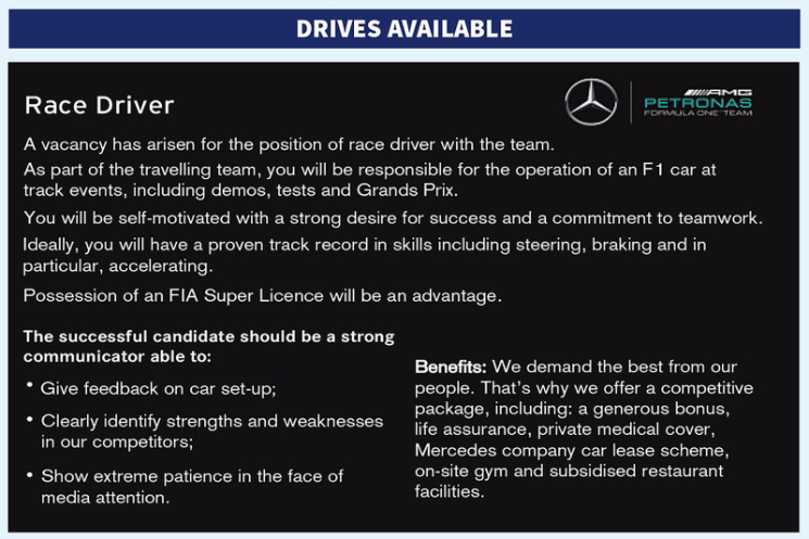 Yes, it's legit - Mercedes-AMG F1 placed this ad in the latest issue of Autosport.