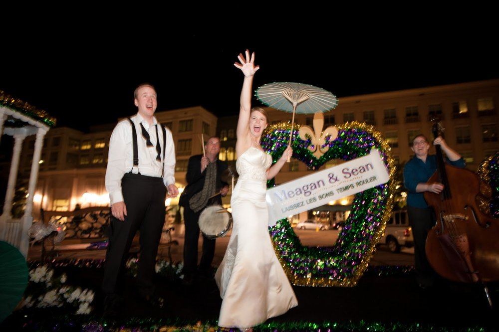 Exit on a custom made Mardi Gras float!