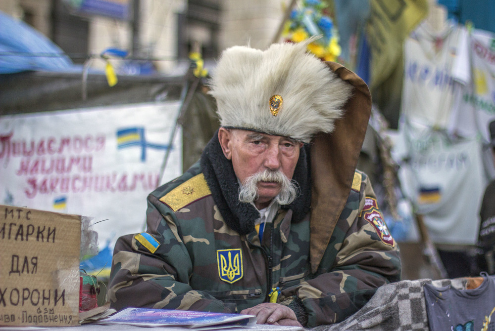 Un viejo soldado cosaco en el campamento del Maidan (Kiev). Foto: María Torres-Solanot ©