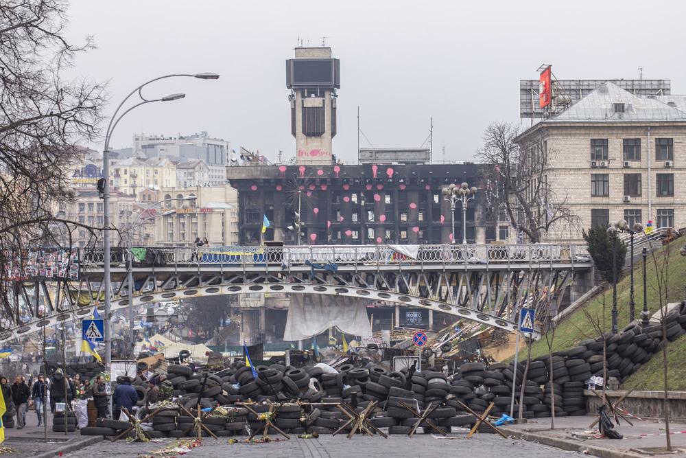 Trinchera camino a la Plaza de la Independencia de Kiev. Foto: María Torres-Solanot ©