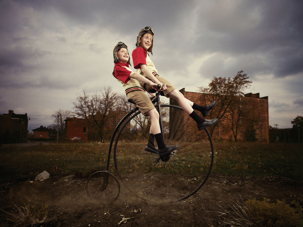 Russian twins on penny farthing bike in Detroit, 2012.  A collaboration with digital artist Brad Pickard.
