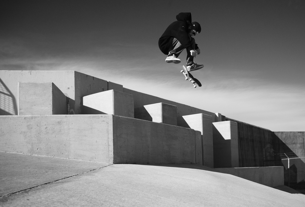 Mitch Pryma, Switch Frontside Flip on a break wall in New Orleans. 2013. From a series of photos made during multiple extensive tours of the Bible Belt and the Mississippi Delta in the Southern United States. The images reveal a stark glimpse into life below the Mason-Dixon line in all it's glory. The entire project was shot on the road in a Keroucian frenzy as seen through the eyes of a rolling bandwagon of skateboarders.