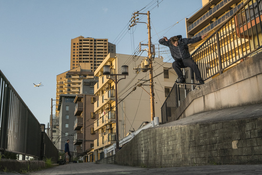 Crooked Grind by Patrik Wallner in Osaka, Japan