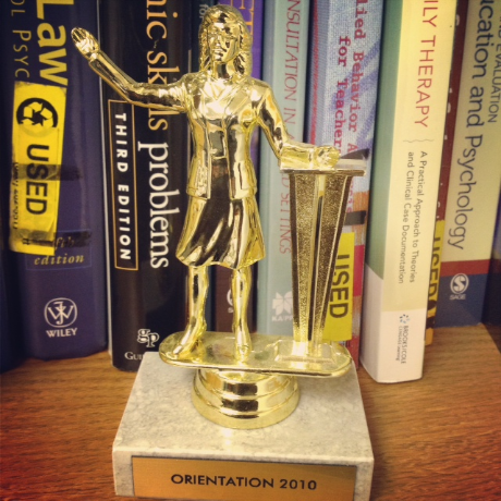 This is a trophy I received in 2010 for my spectacular efforts to open each orientation sessopm with a heartfelt welcome which I always did behind a podium.
