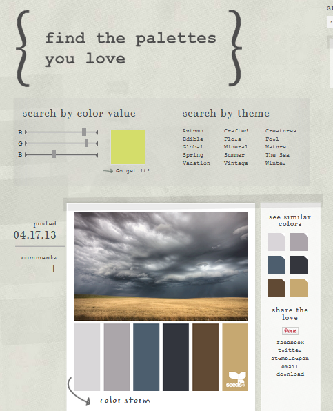 Screenshot of the website which shows how the various ways to search for palettes.