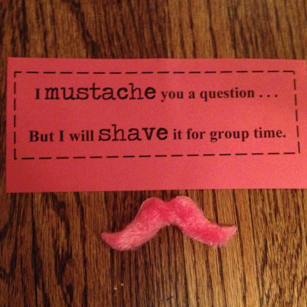 I mustache you ask you a question but I will shave it for later- with pink mustaches. I am working with high school students so I had to work in the pop culture mustache craze.