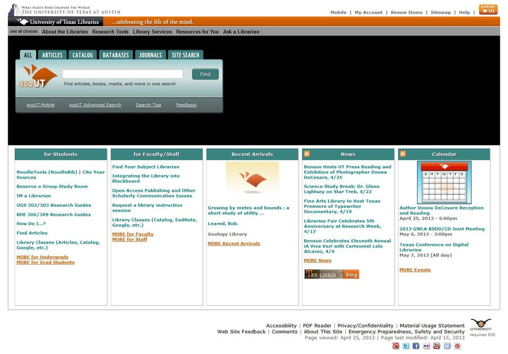 Current UT Libraries website
